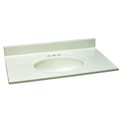 49 in. W Cultured Marble Vanity Top with White on White Bowl
