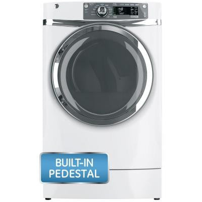 8.3 cu. ft. RightHeight Front Load Electric Dryer with Steam in White, Pedestal Included
