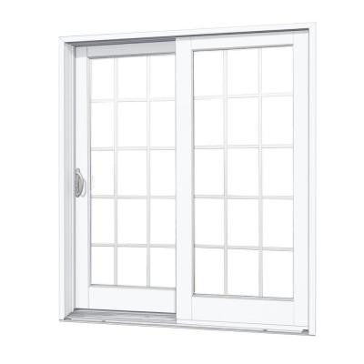 59-1/4 in. x 79-1/2 in. Composite Woodgrain Interior Left-Hand 15 Lite Grilles Between The Glass Sliding Patio Door
