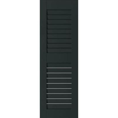 12 in. x 60 in. Exterior Real Wood Pine Louvered Shutters Pair Dark Green