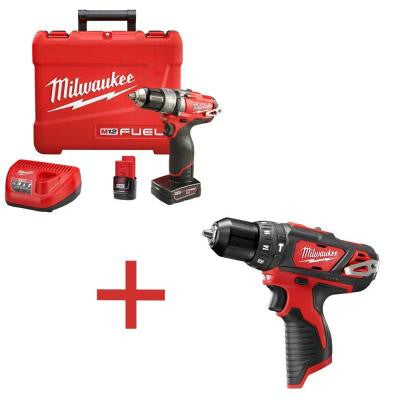 M12 FUEL 12-Volt Lithium-Ion 1/2 in. Cordless Hammer Drill/Driver Kit with M12 3/8 in. Hammer Drill (Tool-Only)