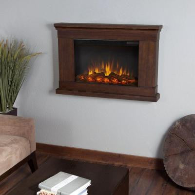 Jackson 38 in. Wall-Mount Slim-Line Electric Fireplace in Vintage Black Maple