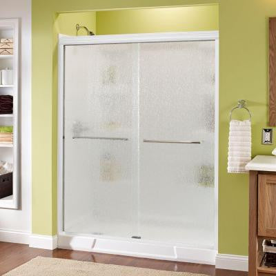 Simplicity 59-3/8 in. x 70 in. Sliding Shower Door in White with Chrome Hardware and Semi-Framed Rain Glass