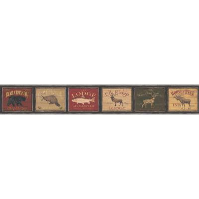 9 in. Framed Lodge Signs Wallpaper Border