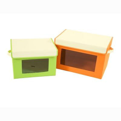 18.9 in. W x 12.2 in. H Orange/Green Canvas 2-Cube Organizer