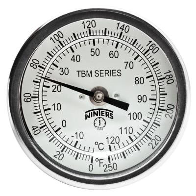 TBM Series 3 in. Dial Thermometer with Fixed Center Back Connection and 9 in. Stem with Range of 0-250°F/C