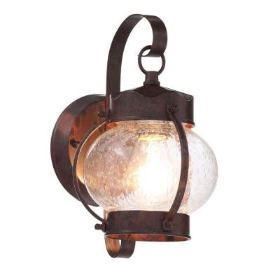 1-Light Old Bronze Outdoor Onion Wall Lantern with Clear Seed Glass Shade
