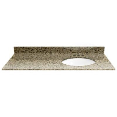 49 in. Granite Vanity Top in Giallo Ornamental with White Basin