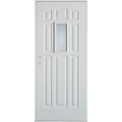 32 in. x 80 in. V-Groove Rectangular Lite 9-Panel Prefinished White Right-Hand Inswing Steel Prehung Front Door