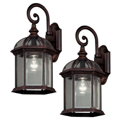 Twin Pack 1-Light Weathered Bronze Outdoor Lantern