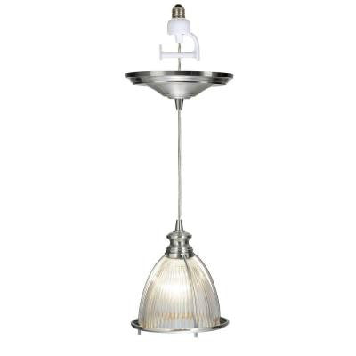 1-Light Brushed Nickel Instant Pendant Conversion Kit and Overlay with Halophane Glass Shade