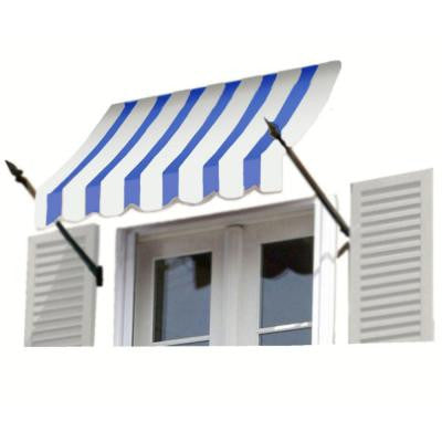 18 ft. New Orleans Awning (44 in. H x 24 in. D) in Bright Blue/White Stripe