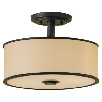 Casual Luxury 2-Light Dark Bronze Semi-Flush Mount