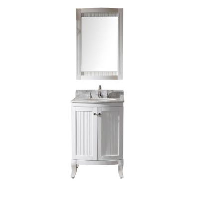 Khaleesi 24 in. Vanity in Antique White with Marble Vanity Top in Italian Carrara White and Mirror