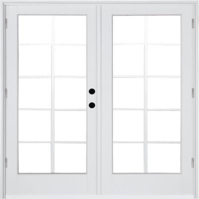 71-1/4 in. x 79-1/2 in. Composite White Left-Hand Outswing Hinged Patio Door with 10 Lite External Grilles