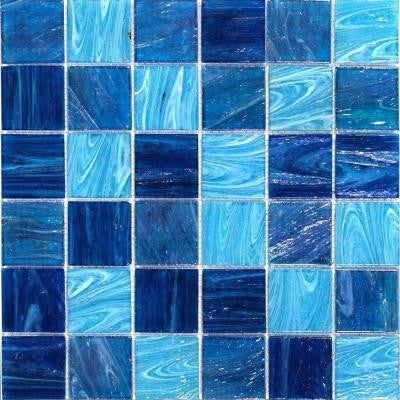 Aqua Blue Ocean Mesh-Mounted Squares 11-3/4 in. x 11-3/4 in. x 5 mm Glass Mosaic Tile