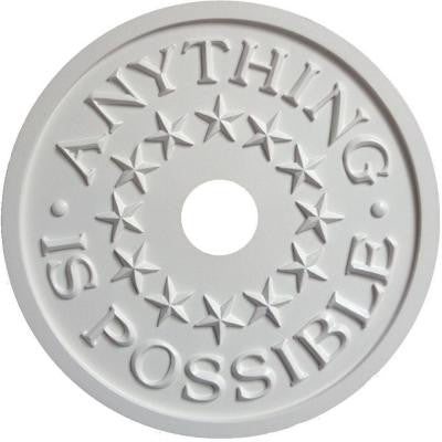 MRC Collection 18 in. x 18 in. x 1/2 in. Anything Is Possible Lightweight Resin Primed White Ceiling Medallion