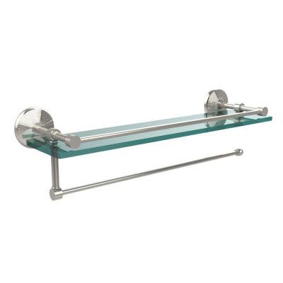 Prestige Monte Carlo Collection Paper Towel Holder with 16 in. W Gallery Glass Shelf in Polished Nickel