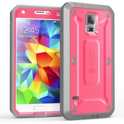 Galaxy S5 Unicorn Beetle Pro Full Body Case with Screen Protector - Pink/Gray