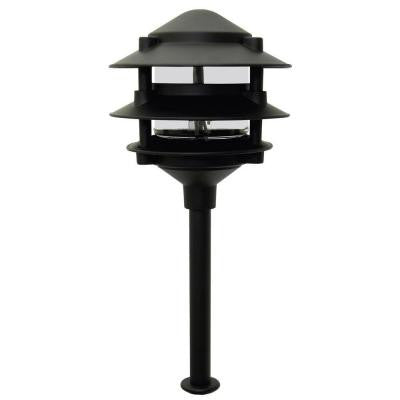 Pagoda-Style Outdoor Black Low-Voltage 11-Watt 3-Tier Metal Path Light