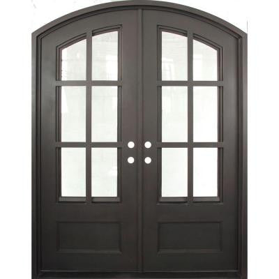 74 in. x 97.5 in. Craftsman Classic Decorative 3/4 Lite Painted Oil Rubbed Bronze Wrought Iron Prehung Front Door