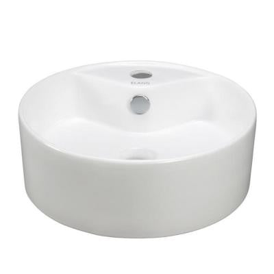 Vessel Above-Counter Round Bowl Bathroom Sink in White