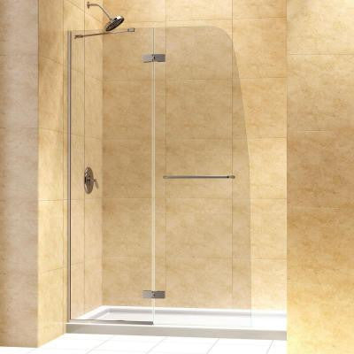 Aqua Ultra 34 in. x 60 in. x 74-3/4 in. Hinged Shower Door in Brushed Nickel with Left Hand Drain Base