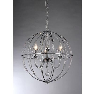 Crystal Cage 3-Light Silver Hanging Chandelier