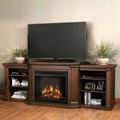 Valmont 76 in. Media Console Electric Fireplace in Chestnut Oak