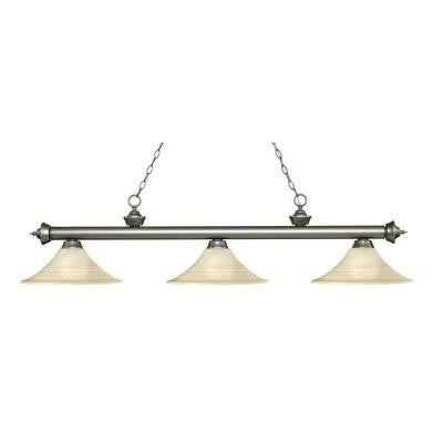 Nolli 3-Light Antique Silver Island Light with Golden Mottle Glass Shades