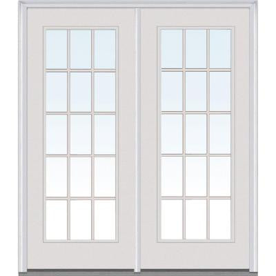 Classic Clear Glass 60 in. x 80 in. Fiberglass Smooth Prehung Left-Hand Inswing 15 Lite GBG Patio Door
