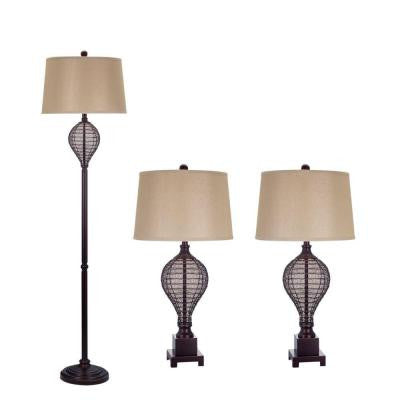 Oil Rubbed Bronze Lamp Set (3-Piece)