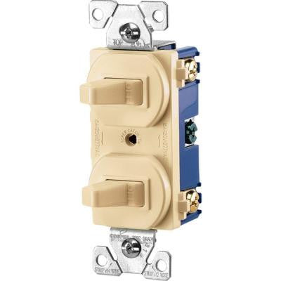 Commercial Grade 15 Amp Combination Single Pole Toggle Switch and 3-Way Switch - Ivory