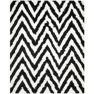 Chevron Shag Ivory/Black 5 ft. x 8 ft. Area Rug