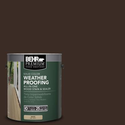 1 gal. #SC-103 Coffee Solid Color Weatherproofing All-In-One Wood Stain and Sealer