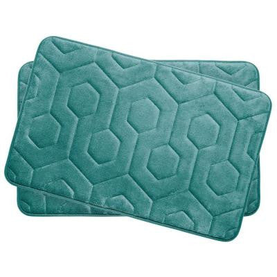 Hexagon Linen 17 in. x 24 in. Memory Foam Bath Mat Set (2-Piece)