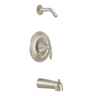 Eva 1-Handle Posi-Temp Tub and Shower Trim Kit with Eco-Performance Showerhead in Brushed Nickel (Valve Sold Separately)
