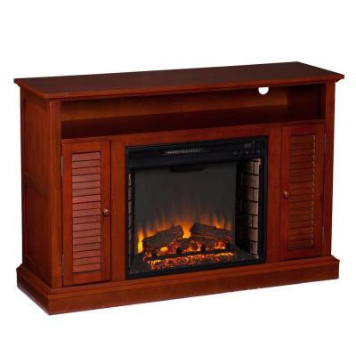 Leven 48 in. Freestanding Media Electric Fireplace in Classic Mahogany