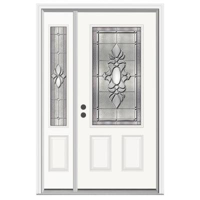 36 in. x 80 in. Langford 3/4 Lite Primed Premium Steel Prehung Front Door with Left Hand Sidelite