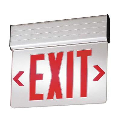 Single Face Surface Mount Edge-Lit LED Emergency Exit Sign Red