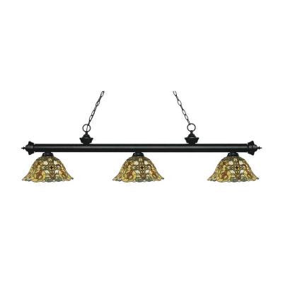 Everlynne 3-Light Matte Black Island Light with Tiffany Glass Shades