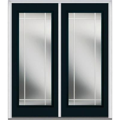 64 in. x 80 in. Classic Clear Glass PIM Full Lite Painted Fiberglass Smooth Double Prehung Front Door