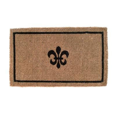 Black Fleur Di Lys 18 in. x 30 in. Extra Thick Hand Woven Coir Door Mat