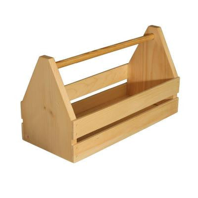 18 in. x 11 in. Natural Pine Wooden Toolbox