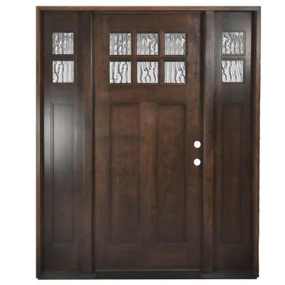 60 in. x 80 in. Shaker 6 Lite Stained Mahogany Wood Prehung Front Door with Sidelites