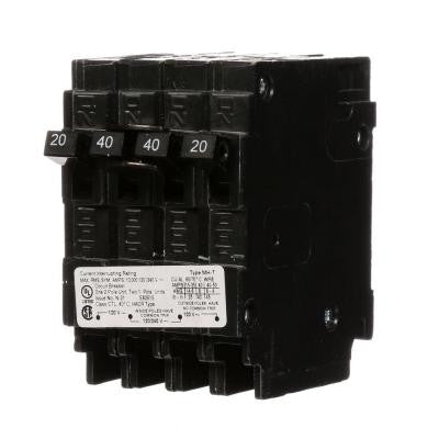 Triplex Two Outer 20 Amp Single-Pole and One Inner 40 Amp Double-Pole-Circuit Breaker