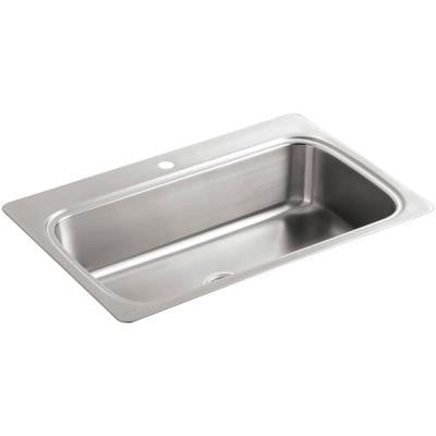 Verse Top Mount Stainless Steel 33 in. 1-Hole Single Bowl Kitchen Sink