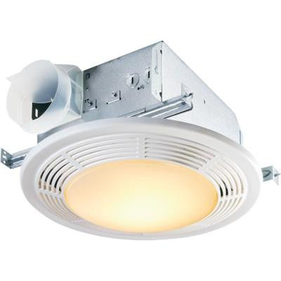 Decorative White 100 CFM Ceiling Exhaust Bath Fan with Light