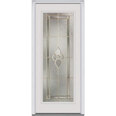 32 in. x 80 in. Master Nouveau Decorative Glass Full Lite Primed White Fiberglass Smooth Prehung Front Door