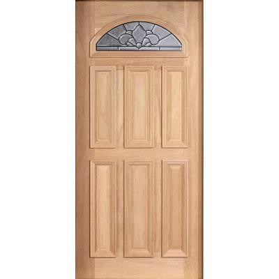 36 in. x 80 in. Mahogany Type Unfinished Beveled Patina Fanlite Glass Solid Wood Front Door Slab